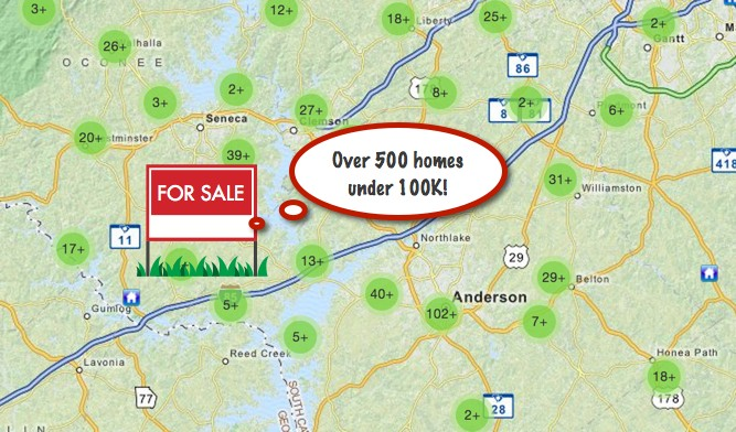 homes for sale anderson sc under 100000